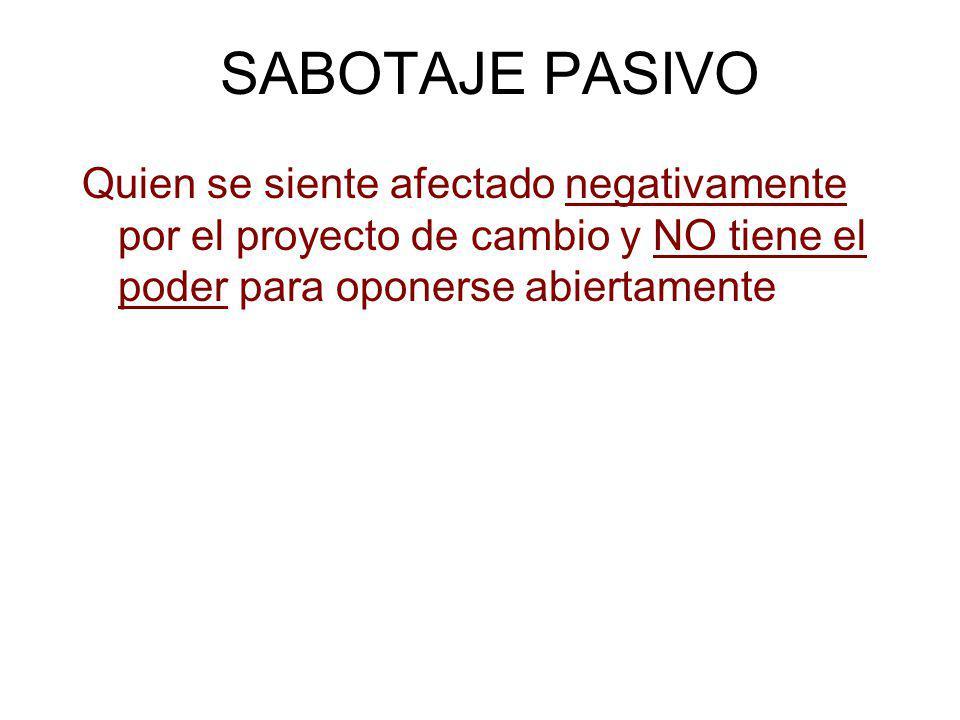 SABOTAJE PASIVO Quien se siente afectado negativamente por el proyecto de cambio y NO tiene el poder para oponerse abiertamente.