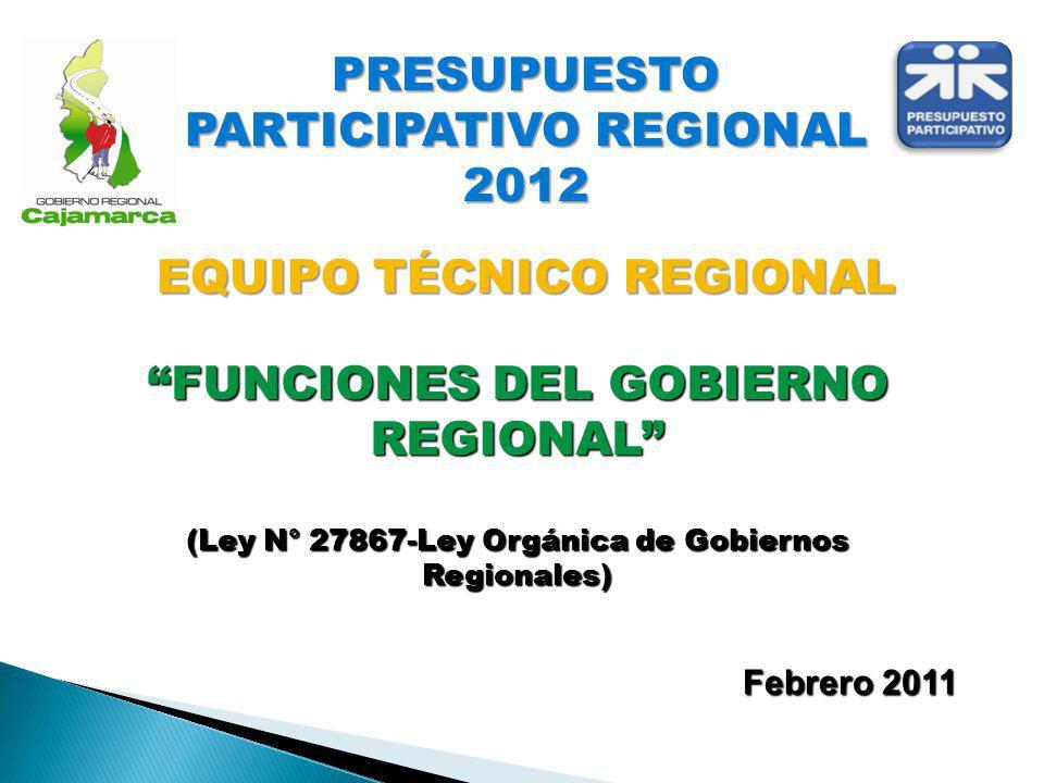 PRESUPUESTO PARTICIPATIVO REGIONAL 2012