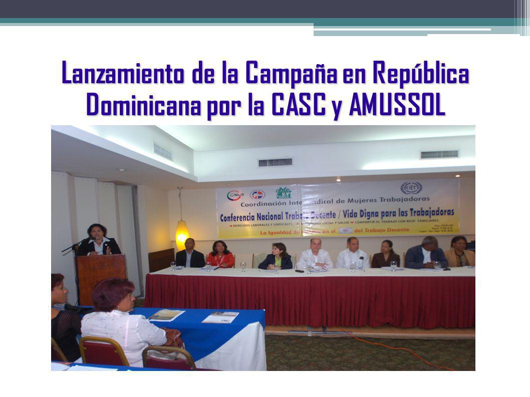 Lanzamiento de la Campaña en República Dominicana por la CASC y AMUSSOL