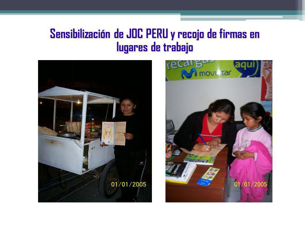 Sensibilización de JOC PERU y recojo de firmas en lugares de trabajo