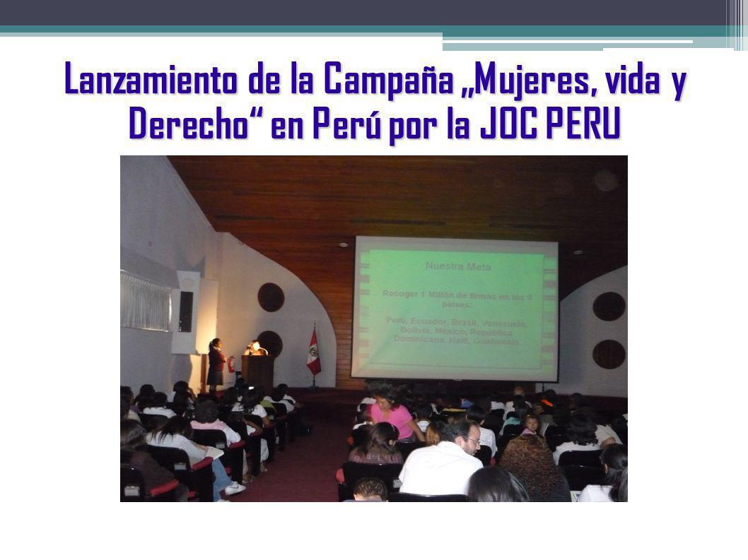 """Lanzamiento de la Campaña """"Mujeres, vida y Derecho en Perú por la JOC PERU"""