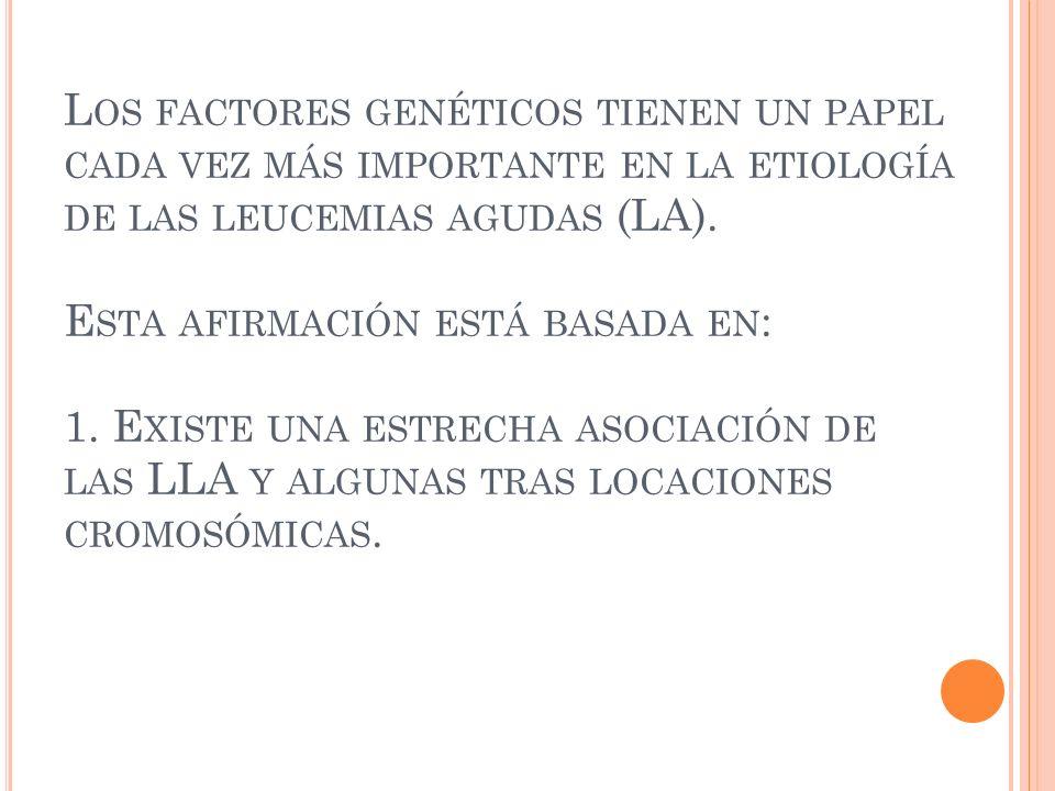 Los factores genéticos tienen un papel cada vez más importante en la etiología de las leucemias agudas (LA).