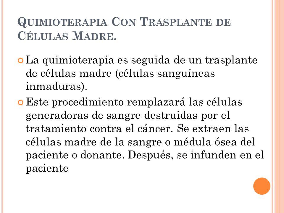 Quimioterapia Con Trasplante de Células Madre.