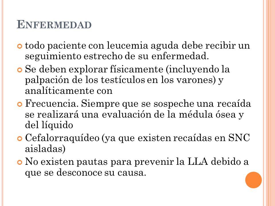 Enfermedadtodo paciente con leucemia aguda debe recibir un seguimiento estrecho de su enfermedad.