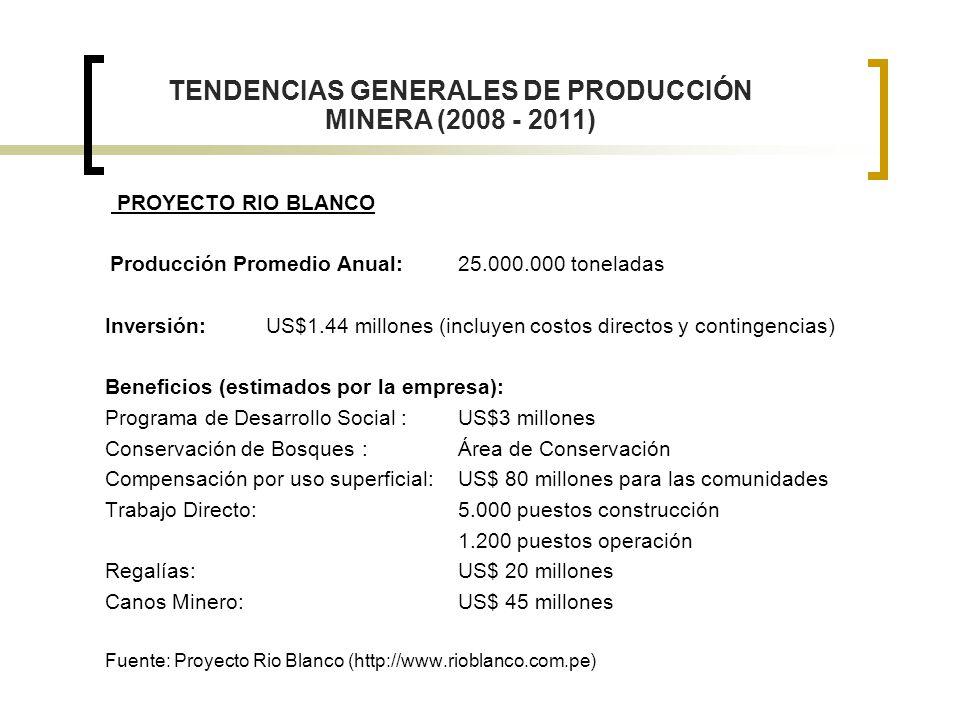 TENDENCIAS GENERALES DE PRODUCCIÓN MINERA (2008 - 2011)