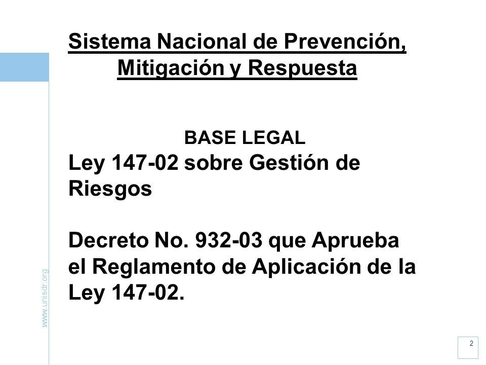 Sistema Nacional de Prevención, Mitigación y Respuesta