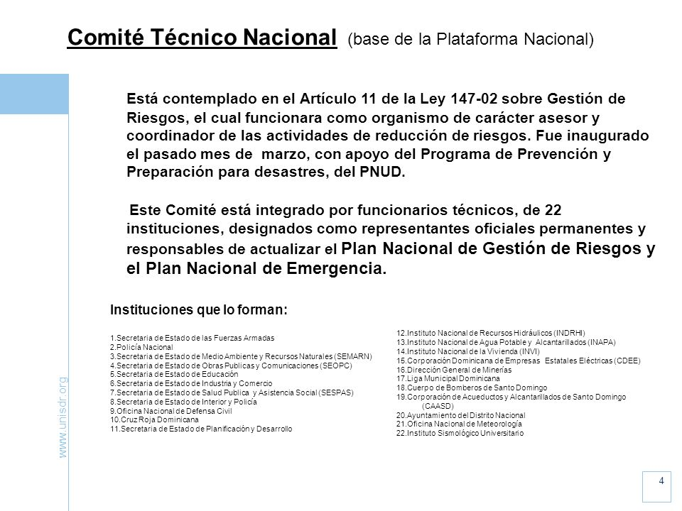Comité Técnico Nacional (base de la Plataforma Nacional)