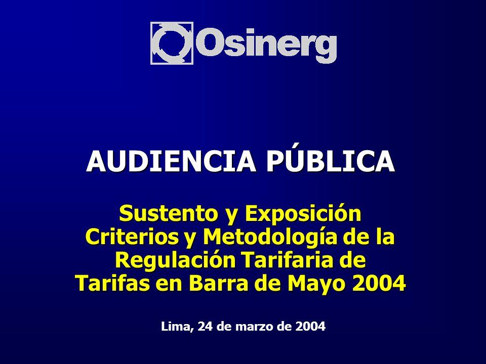AUDIENCIA PÚBLICA Sustento y Exposición Criterios y Metodología de la Regulación Tarifaria de Tarifas en Barra de Mayo 2004