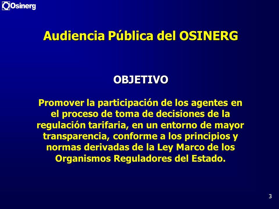 Audiencia Pública del OSINERG OBJETIVO