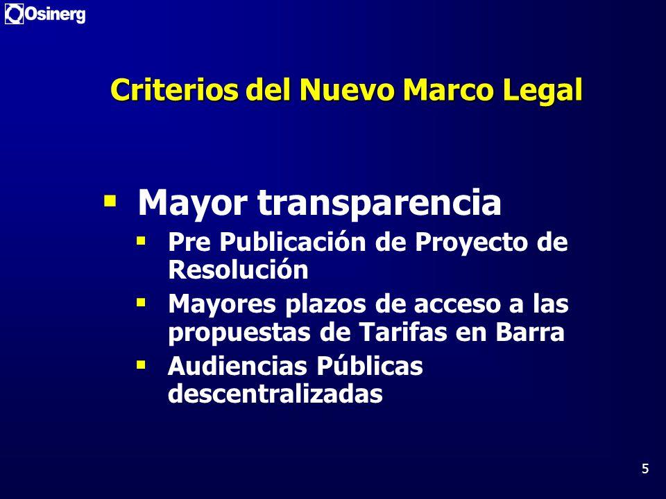 Criterios del Nuevo Marco Legal