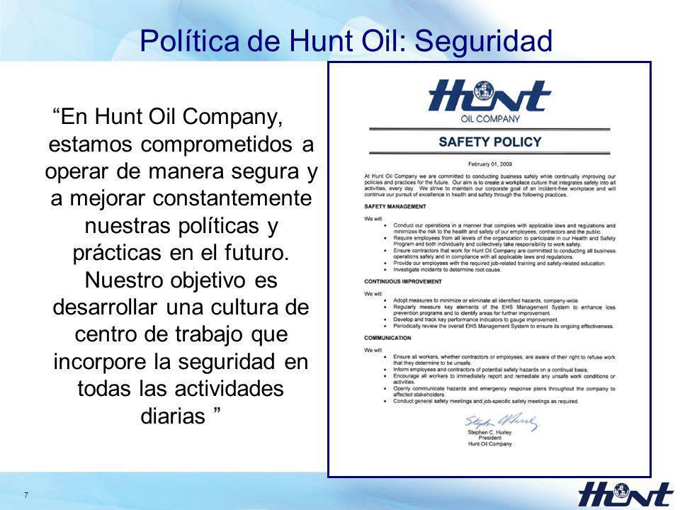 Política de Hunt Oil: Seguridad