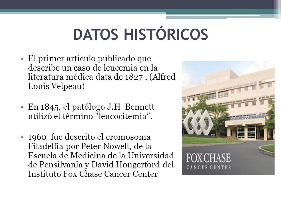 DATOS HISTÓRICOS El primer artículo publicado que describe un caso de leucemia en la literatura médica data de 1827 , (Alfred Louis Velpeau)