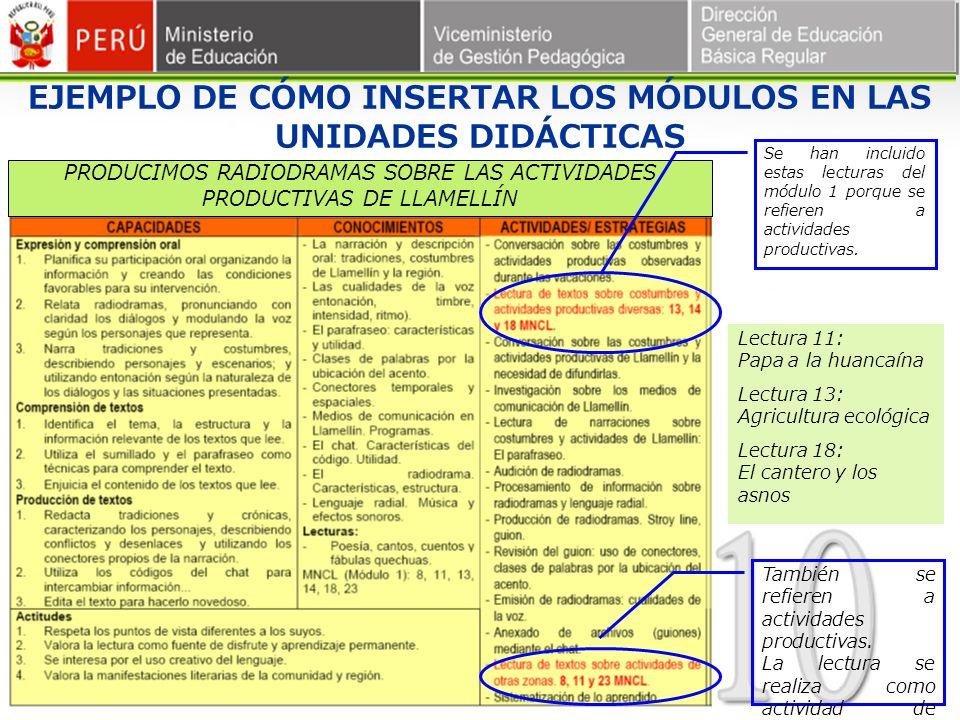 EJEMPLO DE CÓMO INSERTAR LOS MÓDULOS EN LAS UNIDADES DIDÁCTICAS