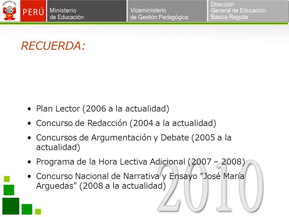 RECUERDA: Plan Lector (2006 a la actualidad)