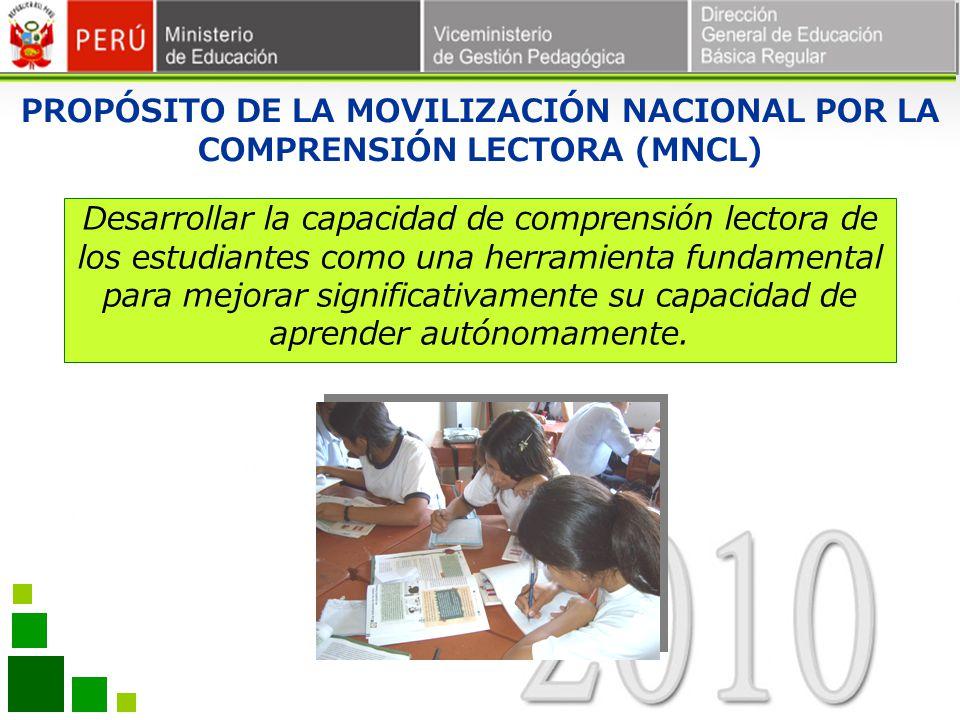 PROPÓSITO DE LA MOVILIZACIÓN NACIONAL POR LA COMPRENSIÓN LECTORA (MNCL)