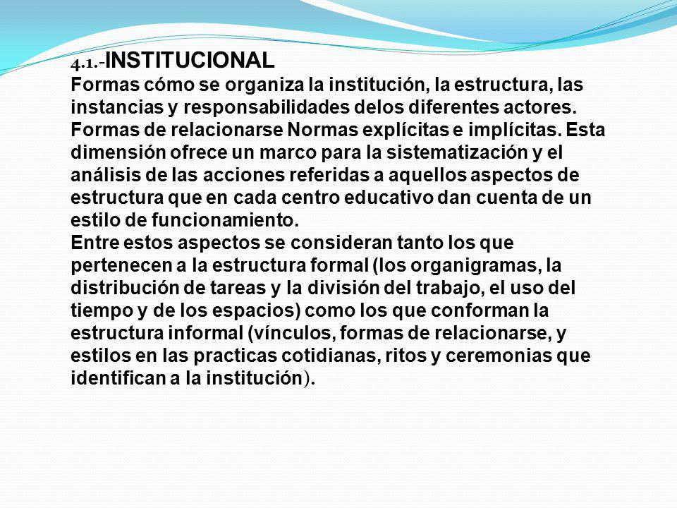 4.1.-INSTITUCIONAL Formas cómo se organiza la institución, la estructura, las instancias y responsabilidades delos diferentes actores.