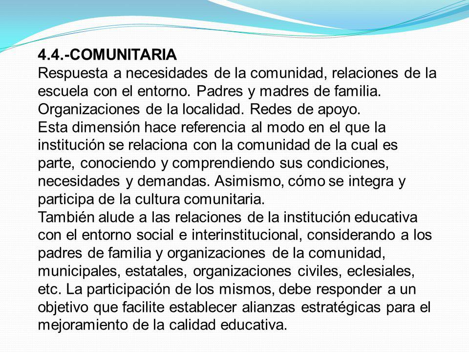 4.4.-COMUNITARIA Respuesta a necesidades de la comunidad, relaciones de la escuela con el entorno. Padres y madres de familia.
