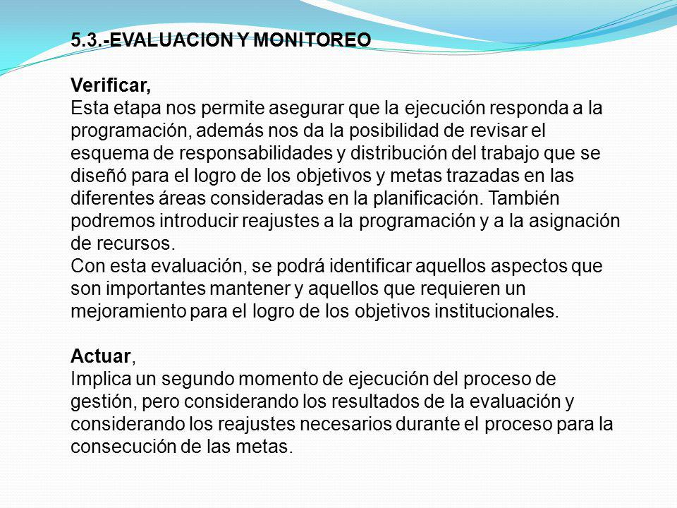 5.3.-EVALUACION Y MONITOREO