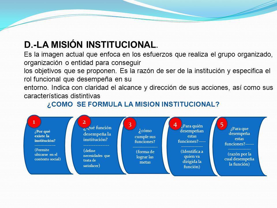 D. -LA MISIÓN INSTITUCIONAL