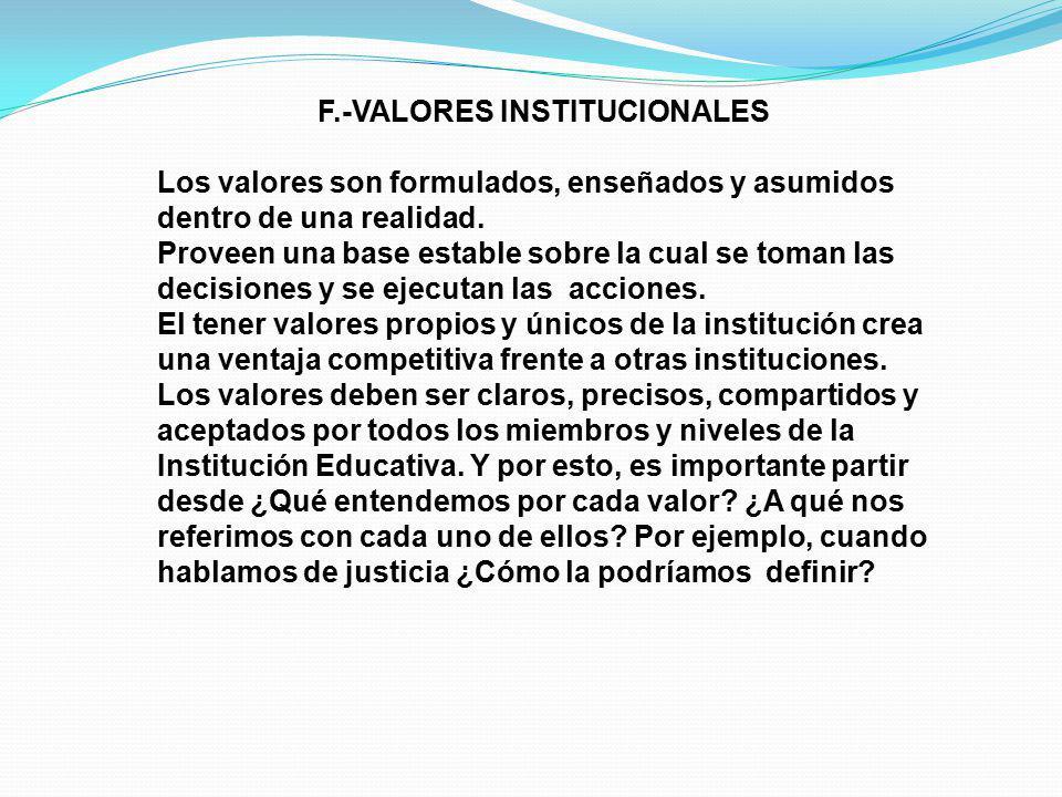 F.-VALORES INSTITUCIONALES