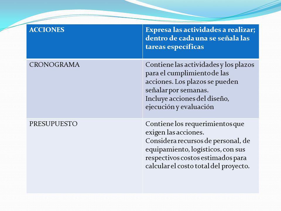 ACCIONES Expresa las actividades a realizar; dentro de cada una se señala las tareas específicas. CRONOGRAMA.