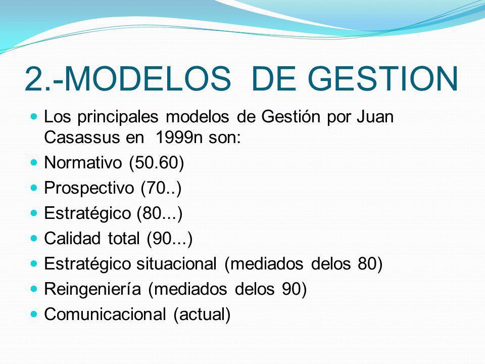 2.-MODELOS DE GESTION Los principales modelos de Gestión por Juan Casassus en 1999n son: Normativo (50.60)