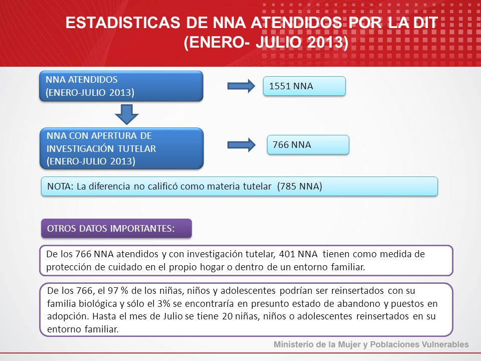 ESTADISTICAS DE NNA ATENDIDOS POR LA DIT (ENERO- JULIO 2013)