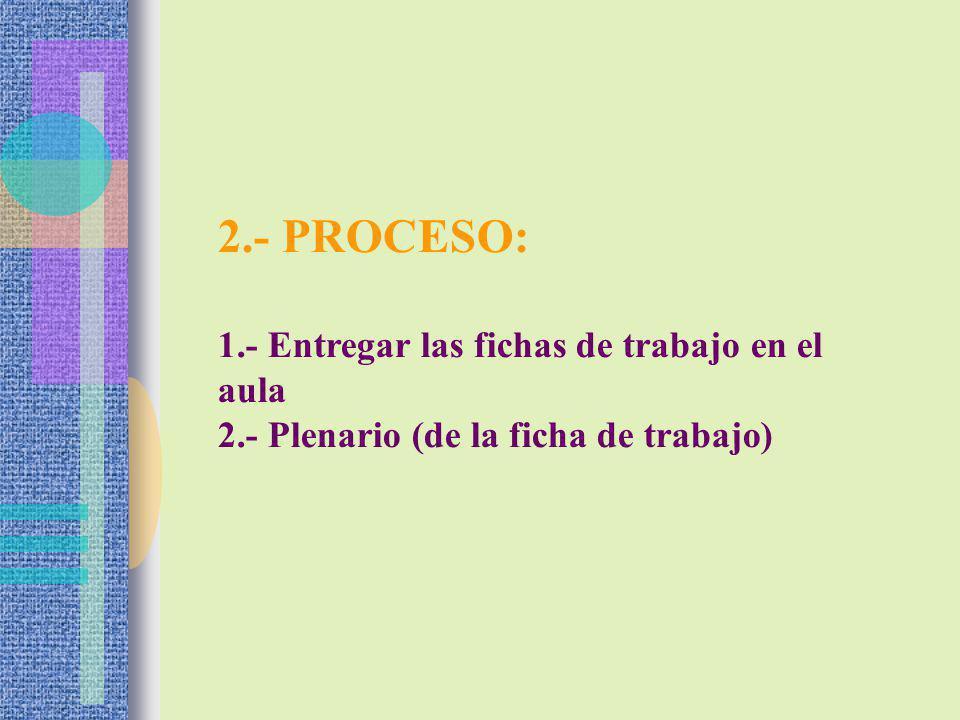 2.- PROCESO: 1.- Entregar las fichas de trabajo en el aula
