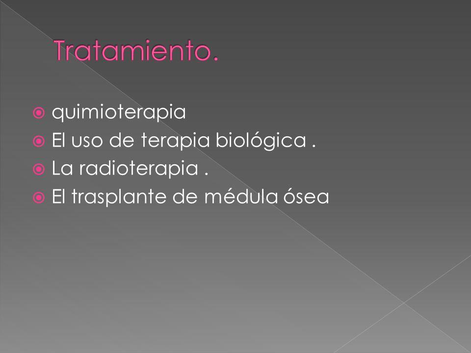 Tratamiento. quimioterapia El uso de terapia biológica .