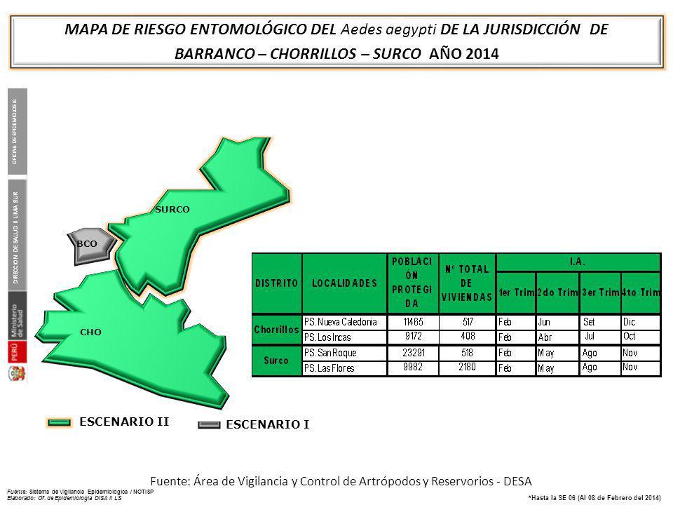 MAPA DE RIESGO ENTOMOLÓGICO DEL Aedes aegypti DE LA JURISDICCIÓN DE VILLA EL SALVADOR – LURIN PACHACAMAC PUCUSANA AÑO 2014