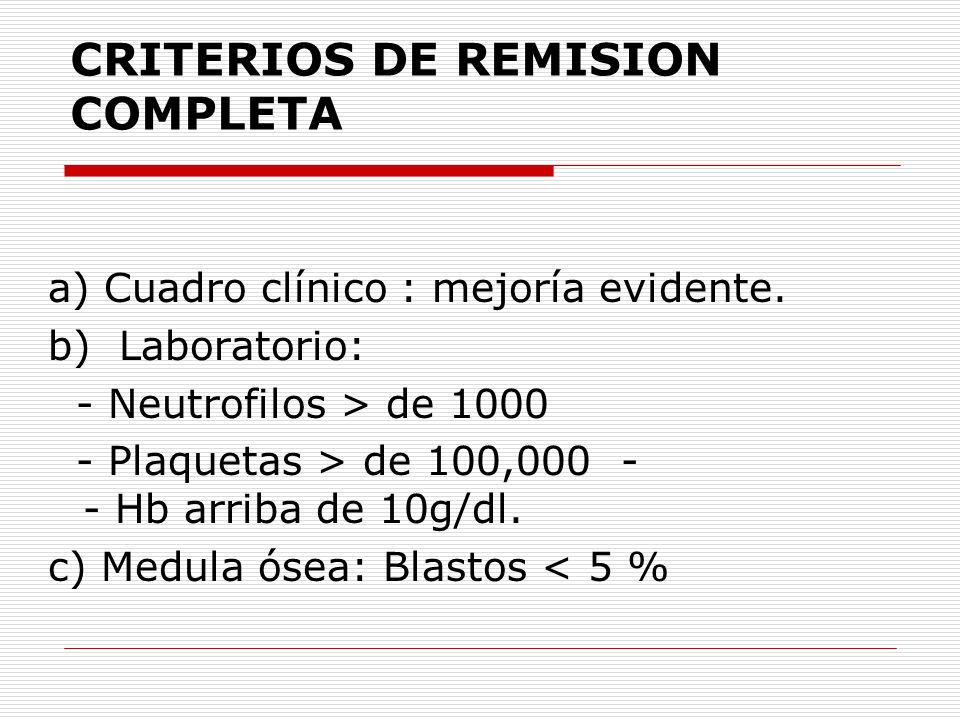 CRITERIOS DE REMISION COMPLETA