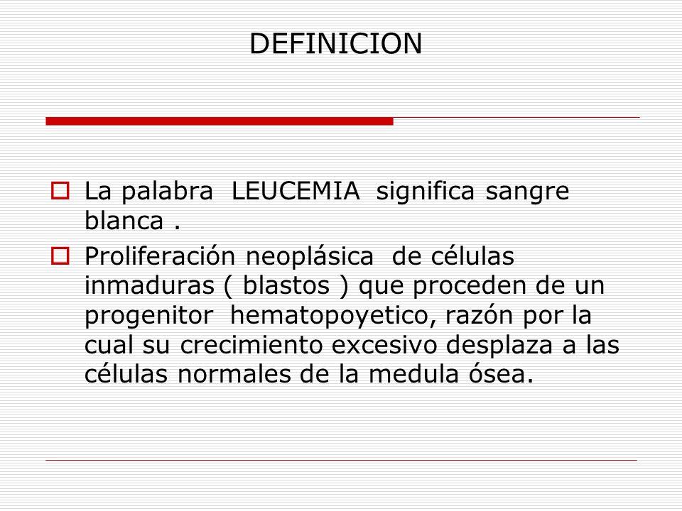DEFINICION La palabra LEUCEMIA significa sangre blanca .