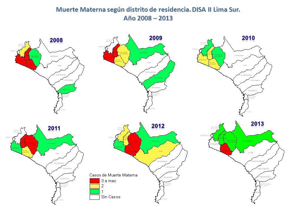 Casos y razón de mortalidad materna por distrito de residencia