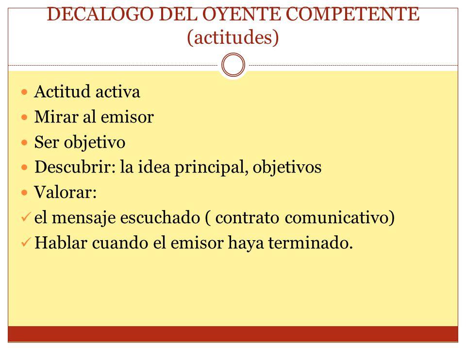 DECALOGO DEL OYENTE COMPETENTE (actitudes)