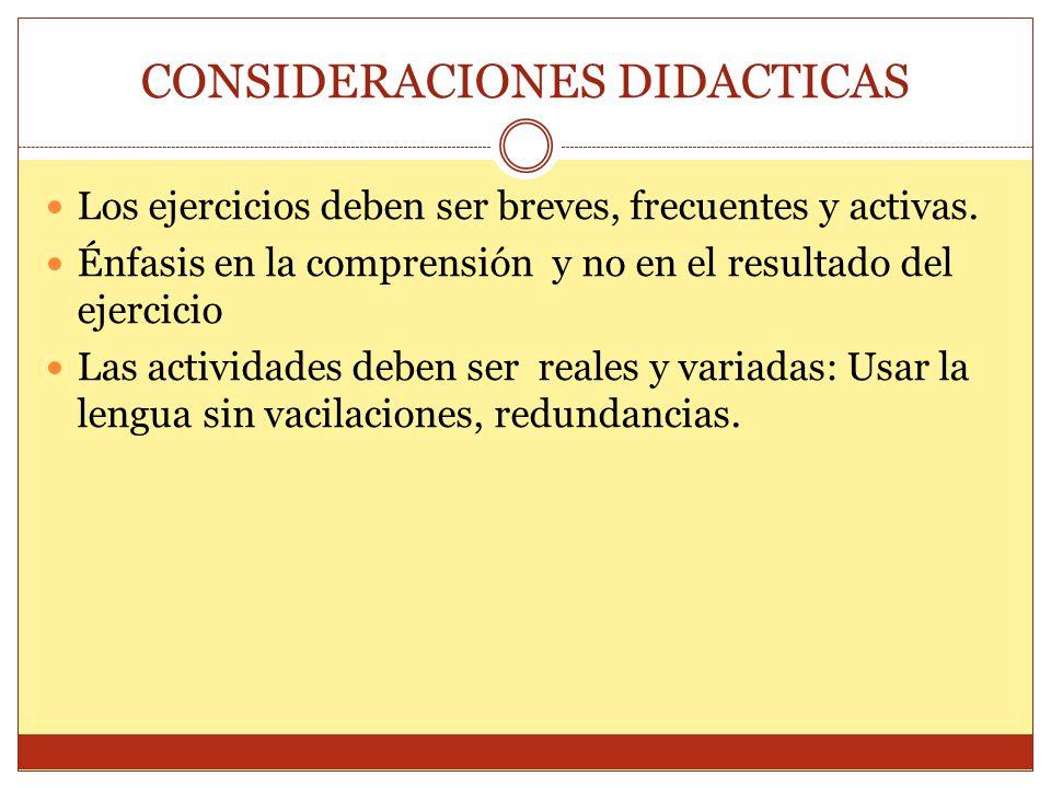 CONSIDERACIONES DIDACTICAS