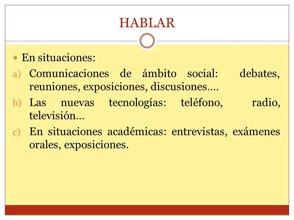 HABLAR En situaciones: