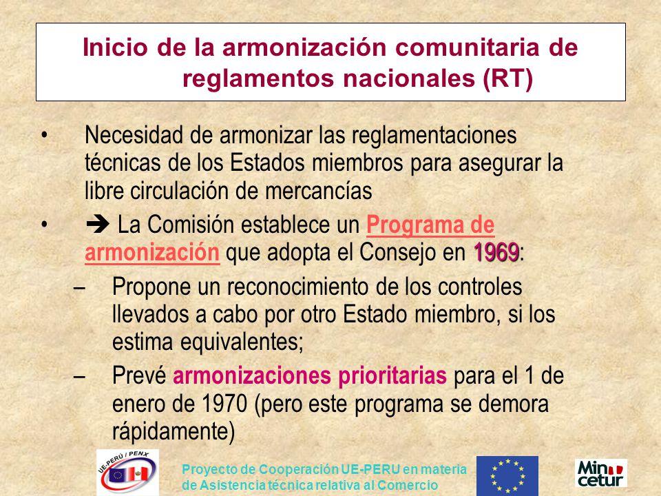 Inicio de la armonización comunitaria de reglamentos nacionales (RT)