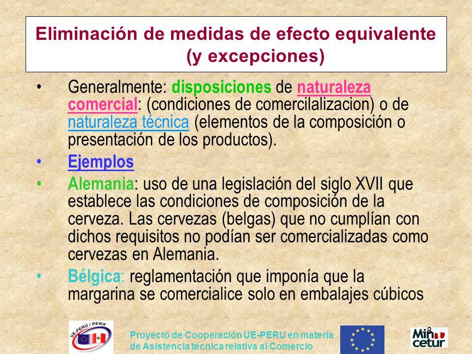 Eliminación de medidas de efecto equivalente (y excepciones)