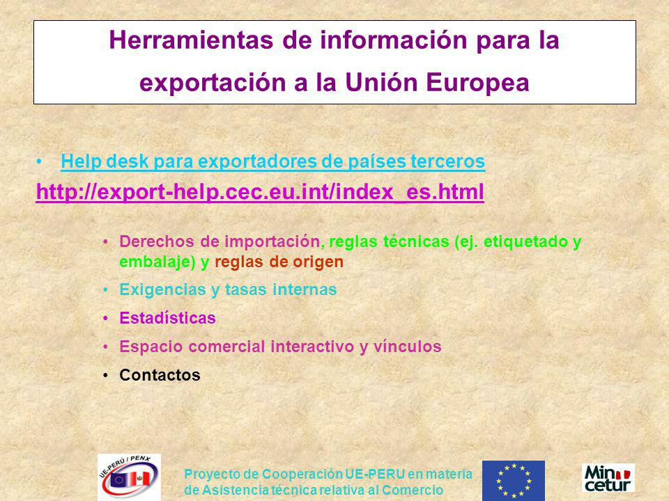 Herramientas de información para la exportación a la Unión Europea