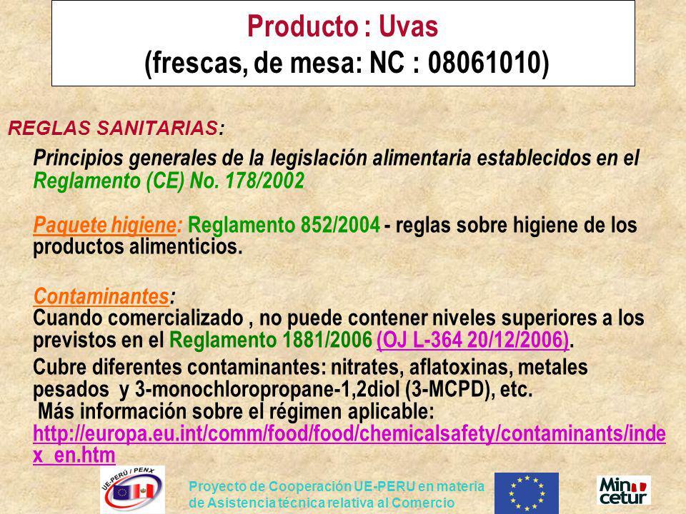 Producto : Uvas (frescas, de mesa: NC : 08061010)