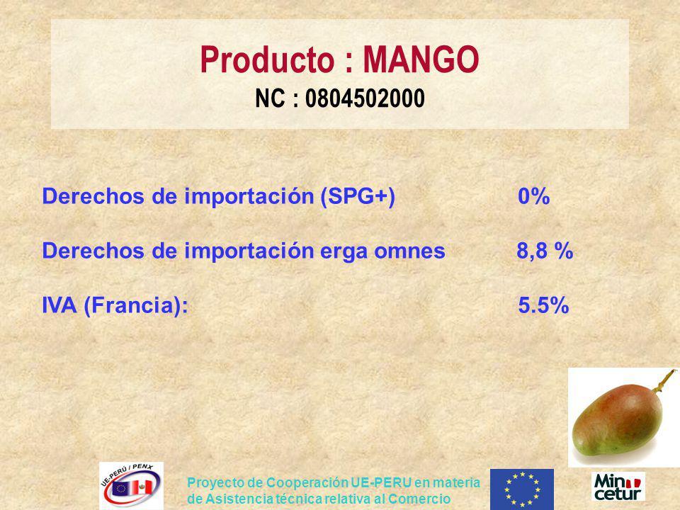 Producto : MANGO NC : 0804502000 Derechos de importación (SPG+) 0% Derechos de importación erga omnes 8,8 % IVA (Francia): 5.5%