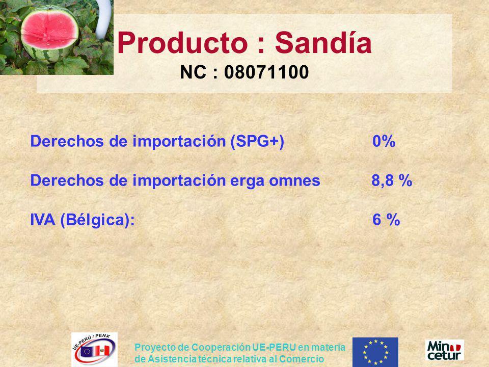 Producto : Sandía NC : 08071100 Derechos de importación (SPG+) 0% Derechos de importación erga omnes 8,8 % IVA (Bélgica): 6 %