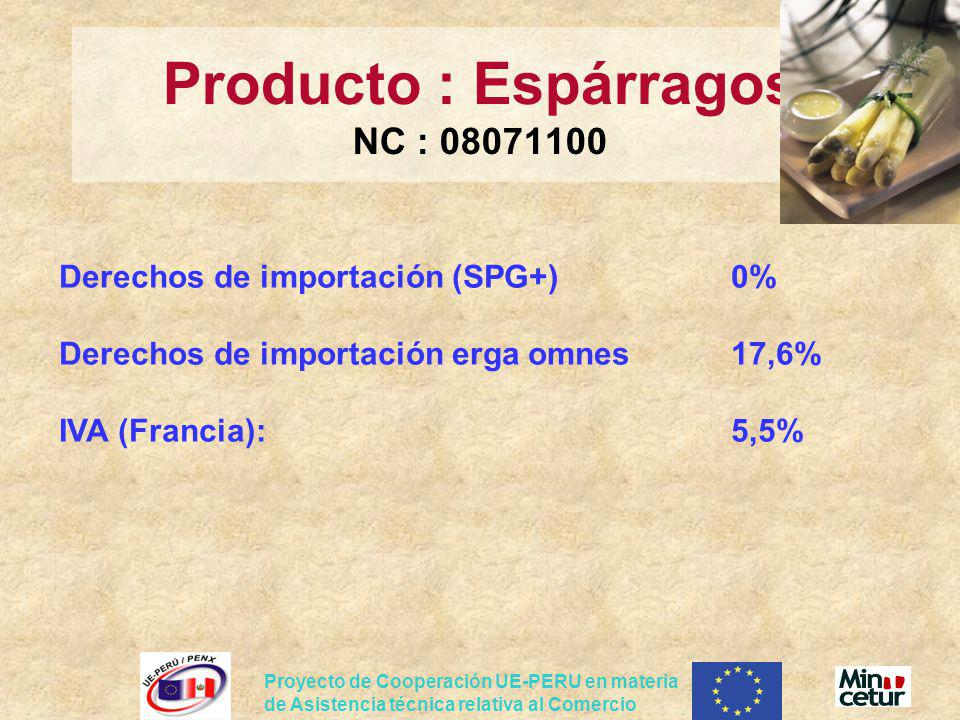 Producto : Espárragos NC : 08071100