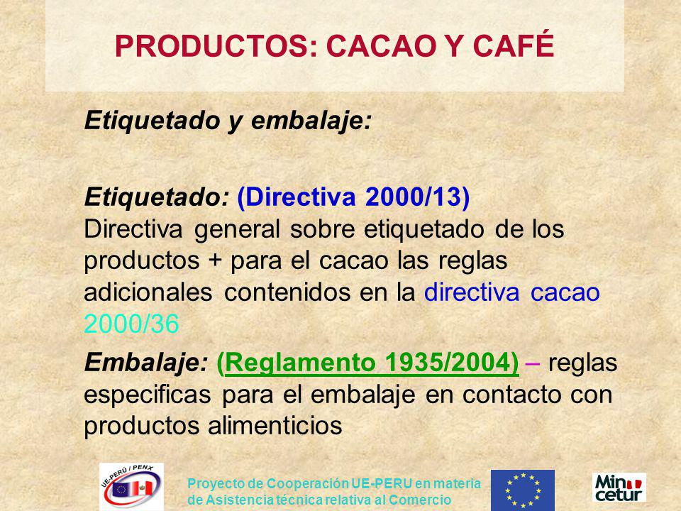 PRODUCTOS: CACAO Y CAFÉ