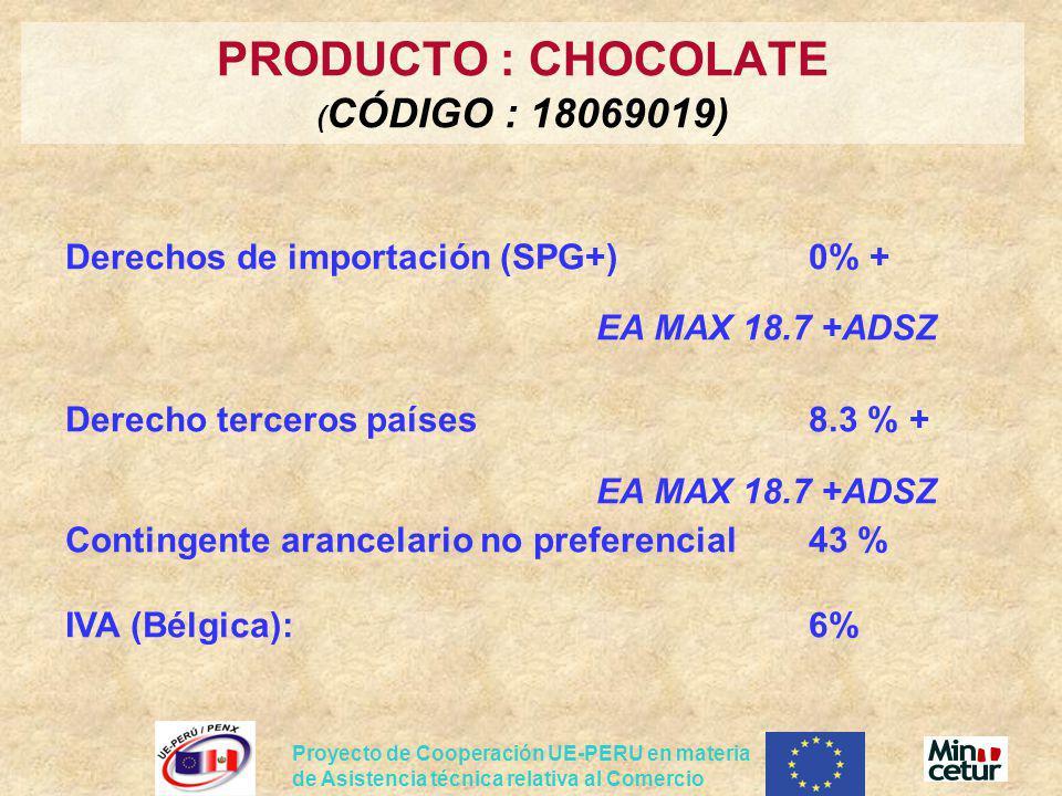 PRODUCTO : CHOCOLATE (CÓDIGO : 18069019)
