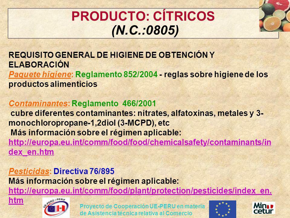 PRODUCTO: CÍTRICOS (N.C.:0805)