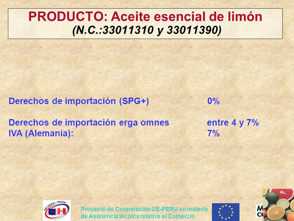 PRODUCTO: Aceite esencial de limón (N.C.:33011310 y 33011390)