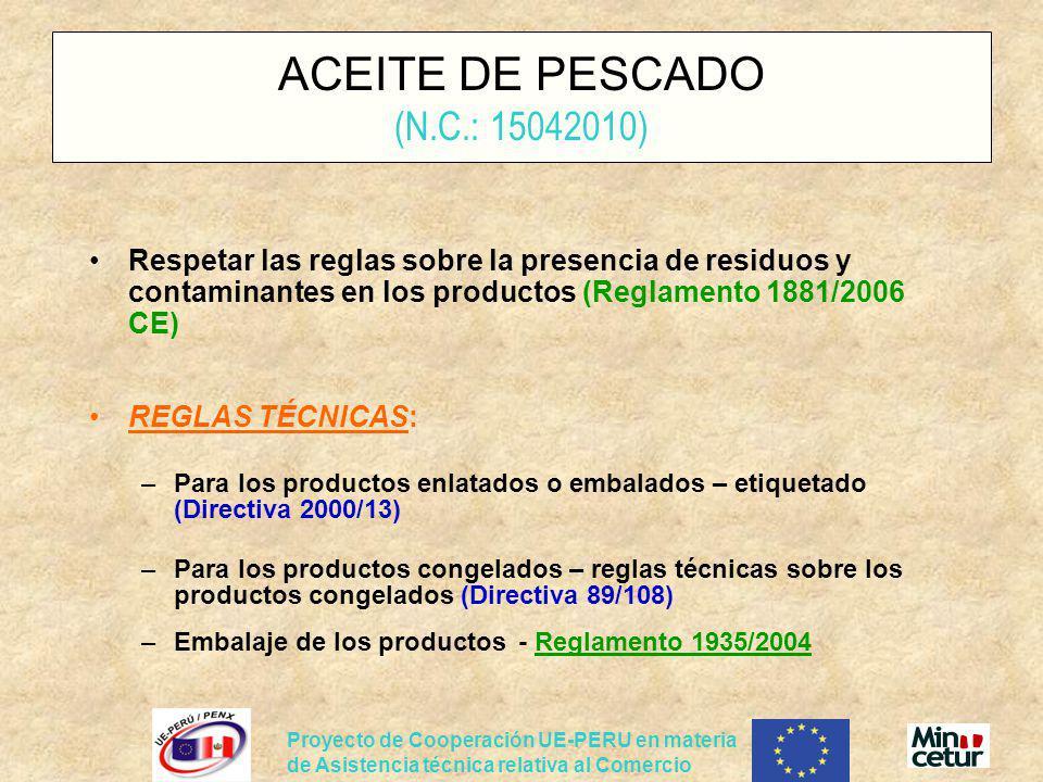 ACEITE DE PESCADO (N.C.: 15042010)