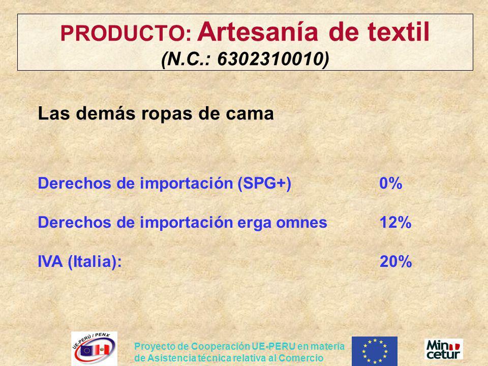 PRODUCTO: Artesanía de textil (N.C.: 6302310010)