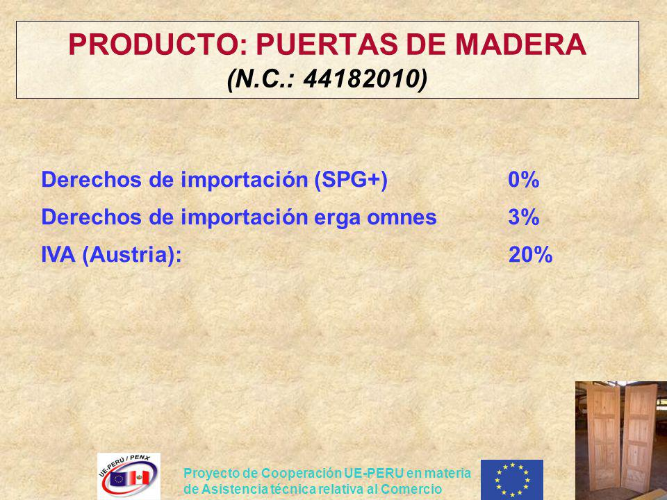 PRODUCTO: PUERTAS DE MADERA (N.C.: 44182010)